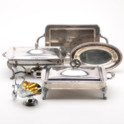 Silver Plate Serving Ware Including Chafing Dishes, Trays, and a Sugar Scuttle