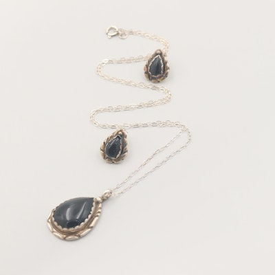 Sterling Silver Black Onyx Necklace and Drop Earrings Set
