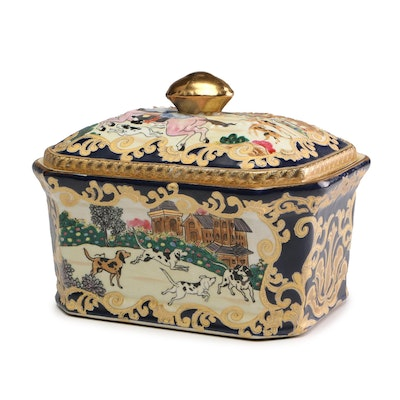 Chinese Hand-Painted Ceramic Trinket Box with Dog Motif