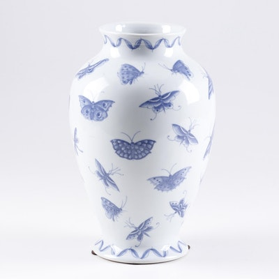 Chinese Butterfly Motif Porcelain Vase, Contemporary