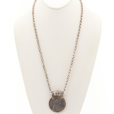 1780 Maria Theresa Thaler 950 Silver Coin Pendant Necklace