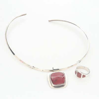 Mexican Sterling Silver Red Jasper Ring and Imitation Jasper Pendant Necklace