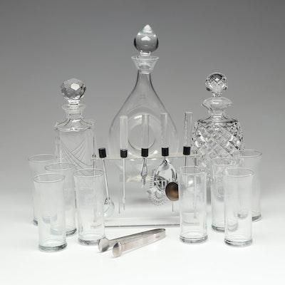 Crystal Barware with Acrylic Bar Tools Featuring Lenox Decanter