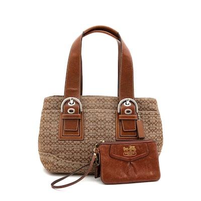 Coach Soho Mini Signature Handbag and Wristlet