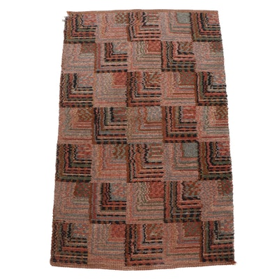 Log Cabin Pattern Hooked Wool Accent Rug, Vintage