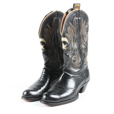 Justin's Make of Fort Worth, Texas Embroidered and Inlaid Leather Boots, Vintage