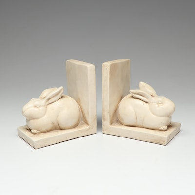 Pair of Ceramic Rabbit Bookends by A. Court