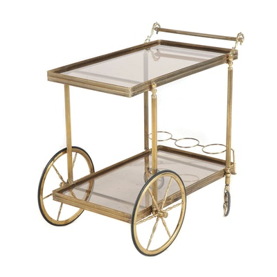 Brass and Smoked Glass Rolling Bar Cart