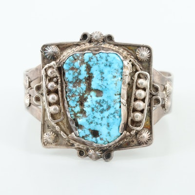 Vintage Southwestern Style Sterling Silver Turquoise Cuff Bracelet
