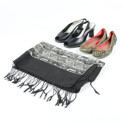 Connie Slingbacks, Seychelles Flats and a Woven Scarf with Fringe