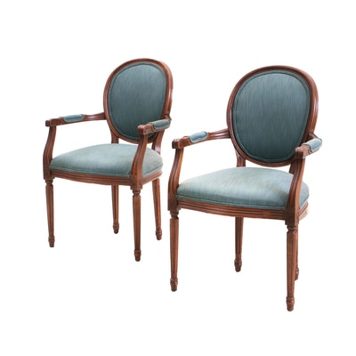 Pair of Classical Style Chairs with Cherry Finish, Contemporary