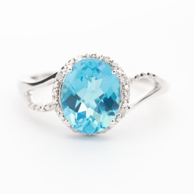 10K White Gold Blue Topaz Ring with Diamond Halo