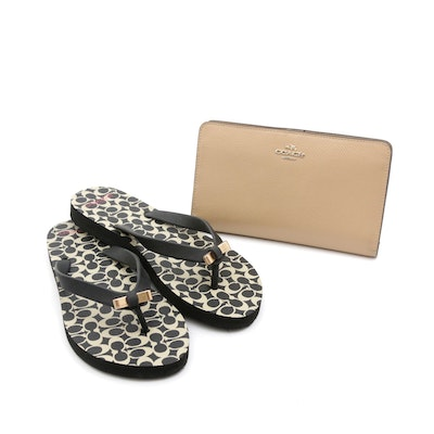 Coach Grained Leather Wallet and Coach Monogram and Bow Thong Sandals