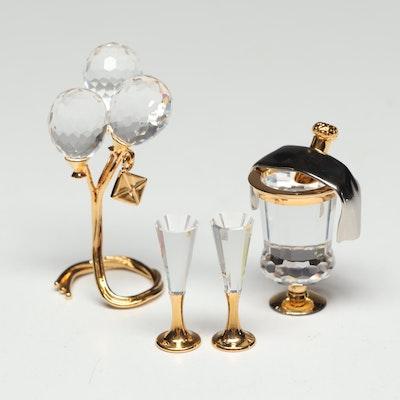 Swarovski Crystal Miniature Balloons and Ice Bucket Figurines