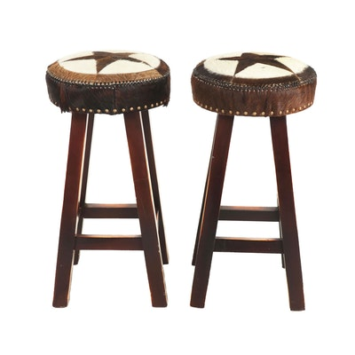 Pair of Contemporary Cowhide Upholstered Wooden Barstools