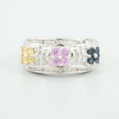 10K White Gold Multi-Colored Sapphire and Diamond Ring