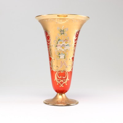 Venetian Handblown Ruby Glass Trumpet Vase, Early 20th Century