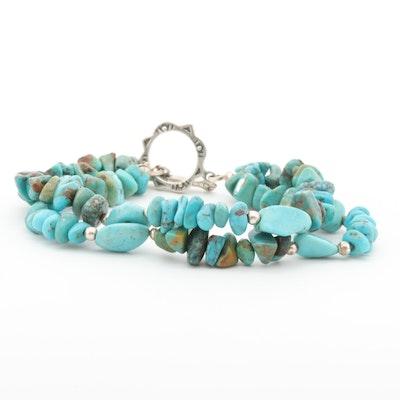 Sterling Silver Dyed Howlite Double Strand Bracelet