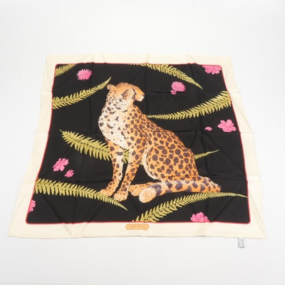 Salvatore Ferragamo Floral and Fern Cheetah Print Silk Scarf