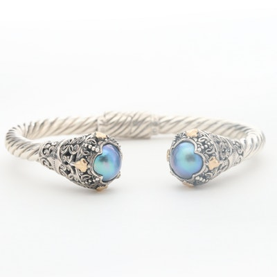 Robert Manse Sterling Silver Cultured Pearl Hinged Cuff with 18K Accents