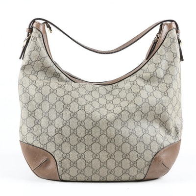 Gucci Nice GG Supreme Canvas Hobo Bag Trimmed in Brown Leather