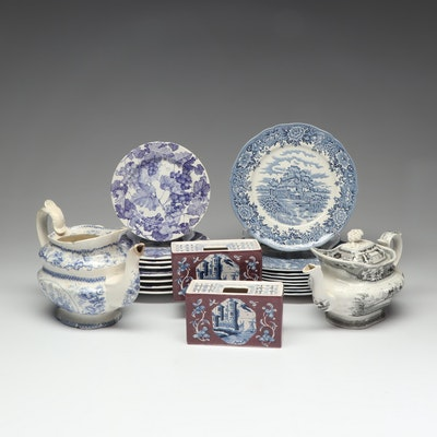 Delft, Salem China Co. and Other Transfer Tableware and Vases