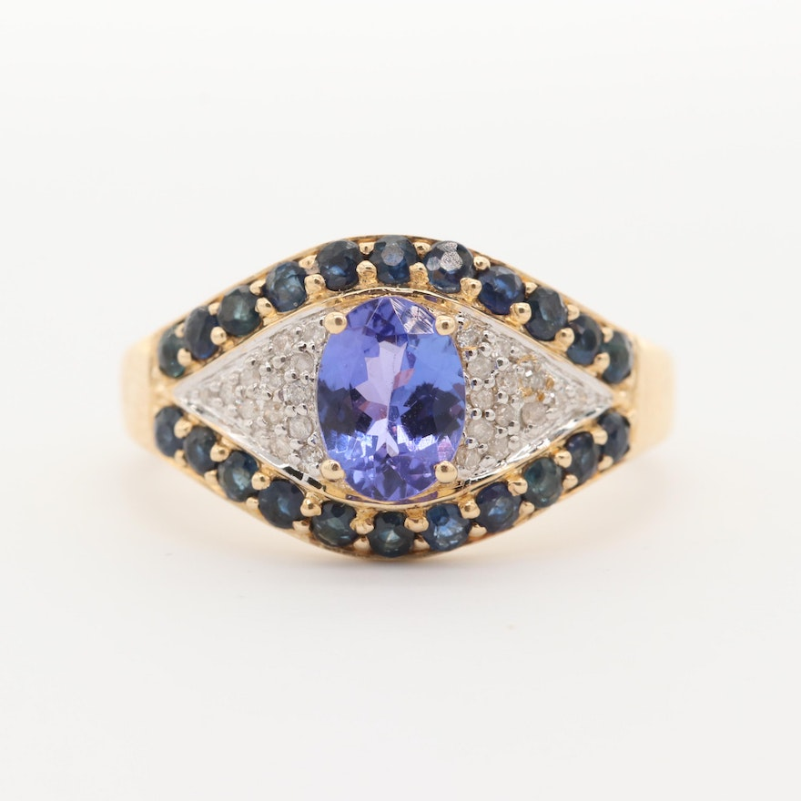 14K Yellow Gold Tanzanite, Sapphire, and Diamond Ring
