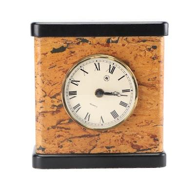Bey-Berk Quartz Desk Clock with Cork Inlay