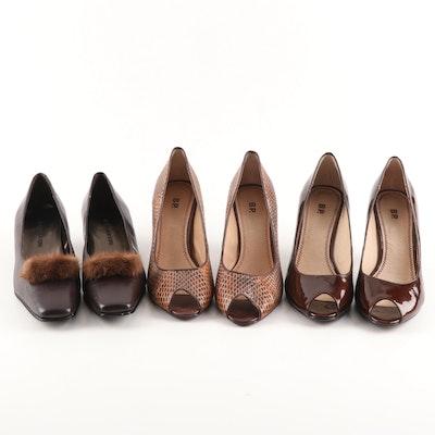 BP. Peep-Toe Pumps and Jasmin New York Mink Fur Accent Leather Pumps