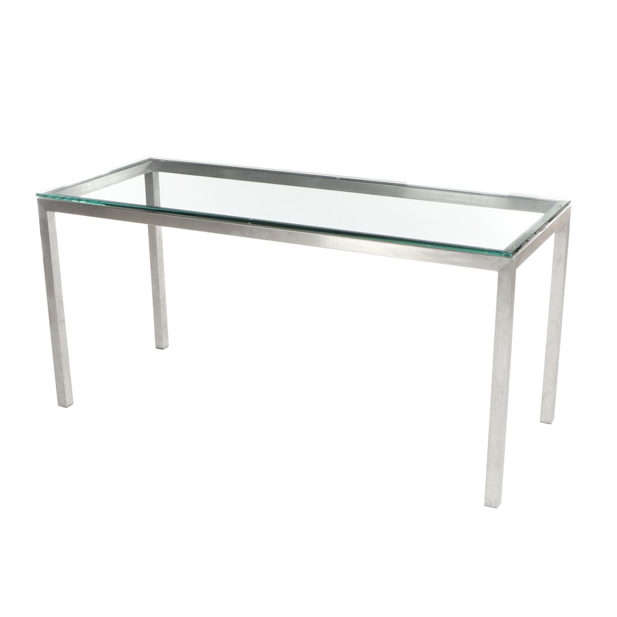 Contemporary Modern Stainless Steel Glass Top Sofa Table
