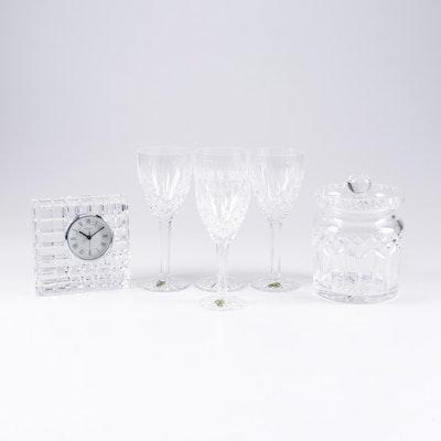 """Wateford Crystal """"Araglin"""" Goblets, """"Lismore"""" Biscuit Barrel, and Desk Clock"""