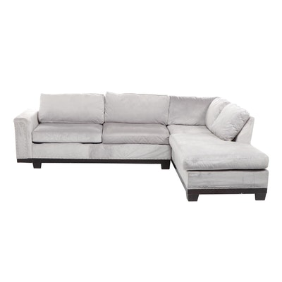 Contemporary Transitional Gray Upholstered Sectional Sofa
