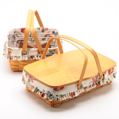 Longaberger Handled Baskets with Liners, 1999