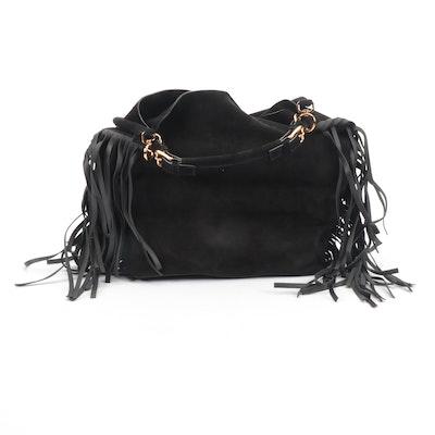 Marni Black Suede Fringe Hobo Bag