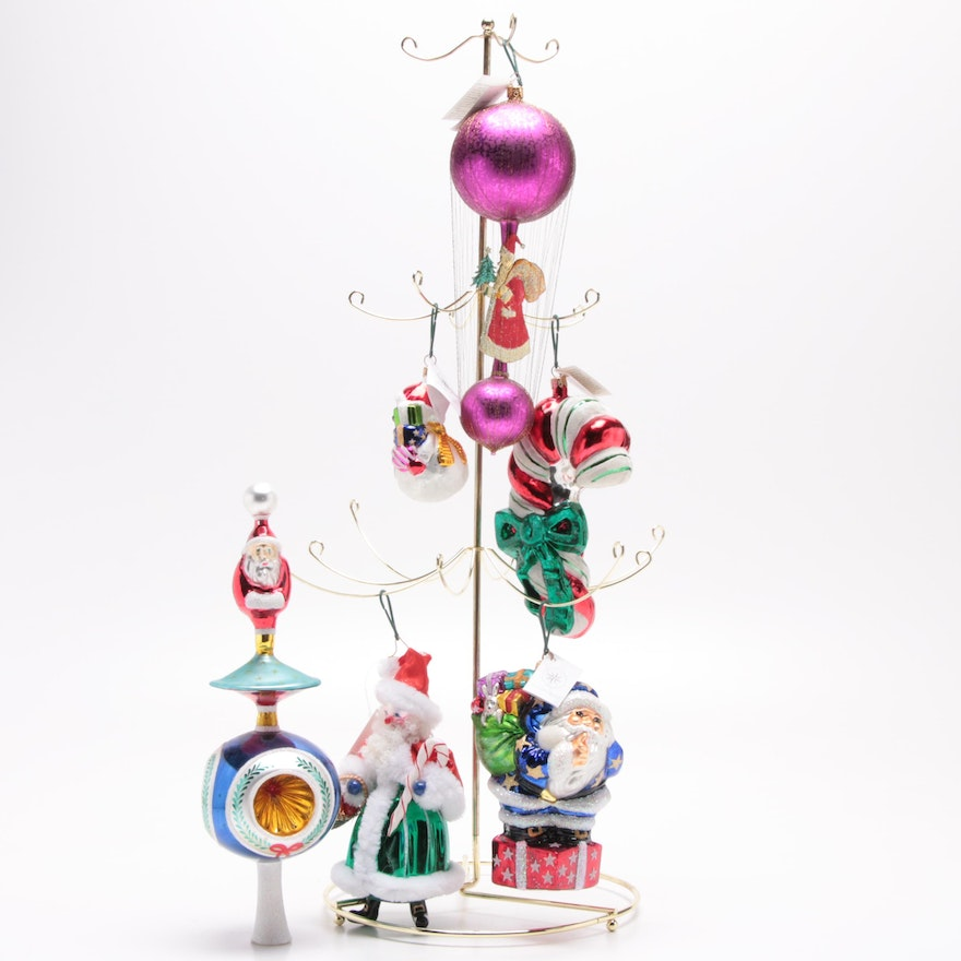 Christopher Radko Christmas Ornaments with Stand and Tree Topper
