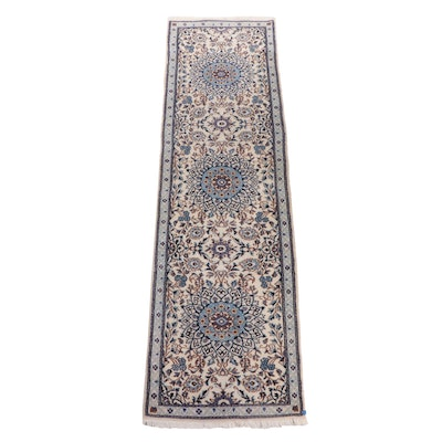Hand-Knotted Persian Nain Wool Carpet Runner