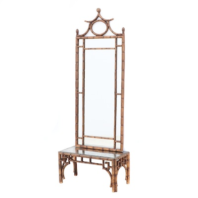 Faux Bamboo Gilt Finished Hall Stand Mirror, Mid-Century