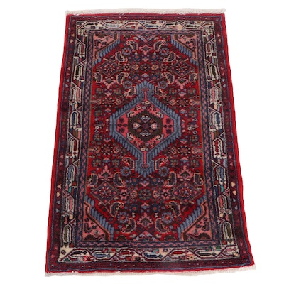 Hand-Knotted Persian Kurdish Bijar Wool Rug