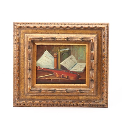 Still Life Oil Painting of Violin with Music Books