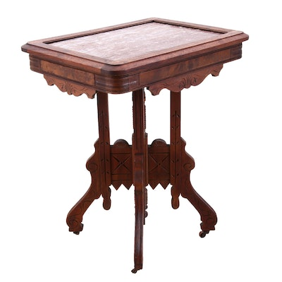 Eastlake Accent Table with Red Marble Top, Circa Late 19th Century