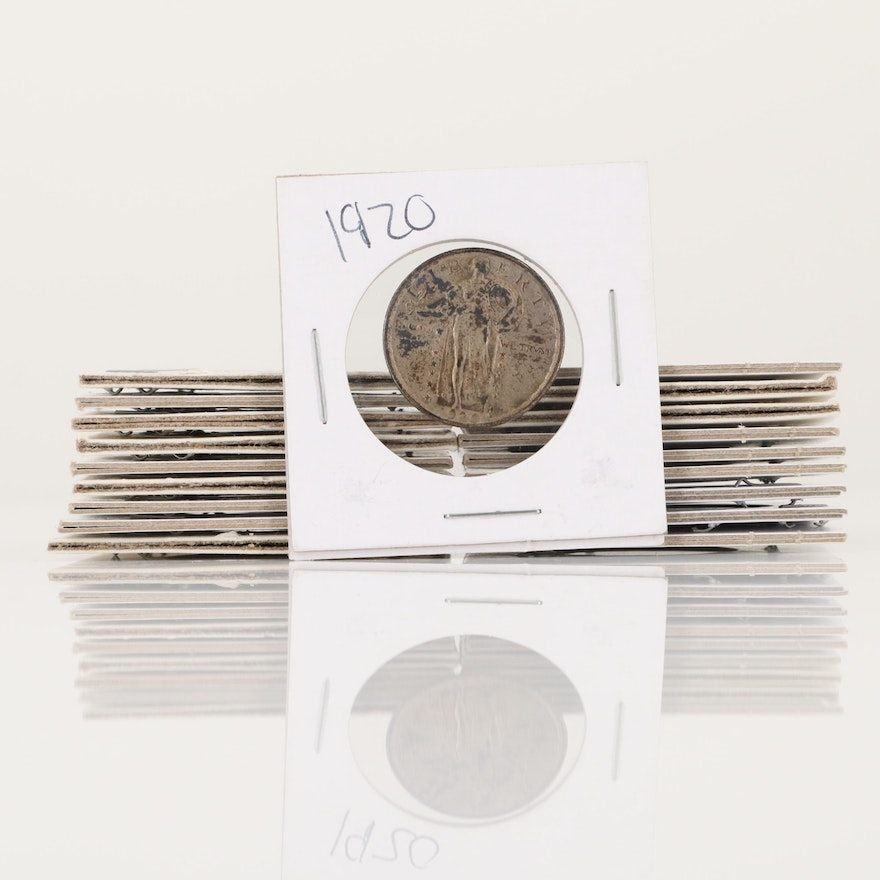Nineteen Standing Liberty Silver Quarters, 1920 to 1929