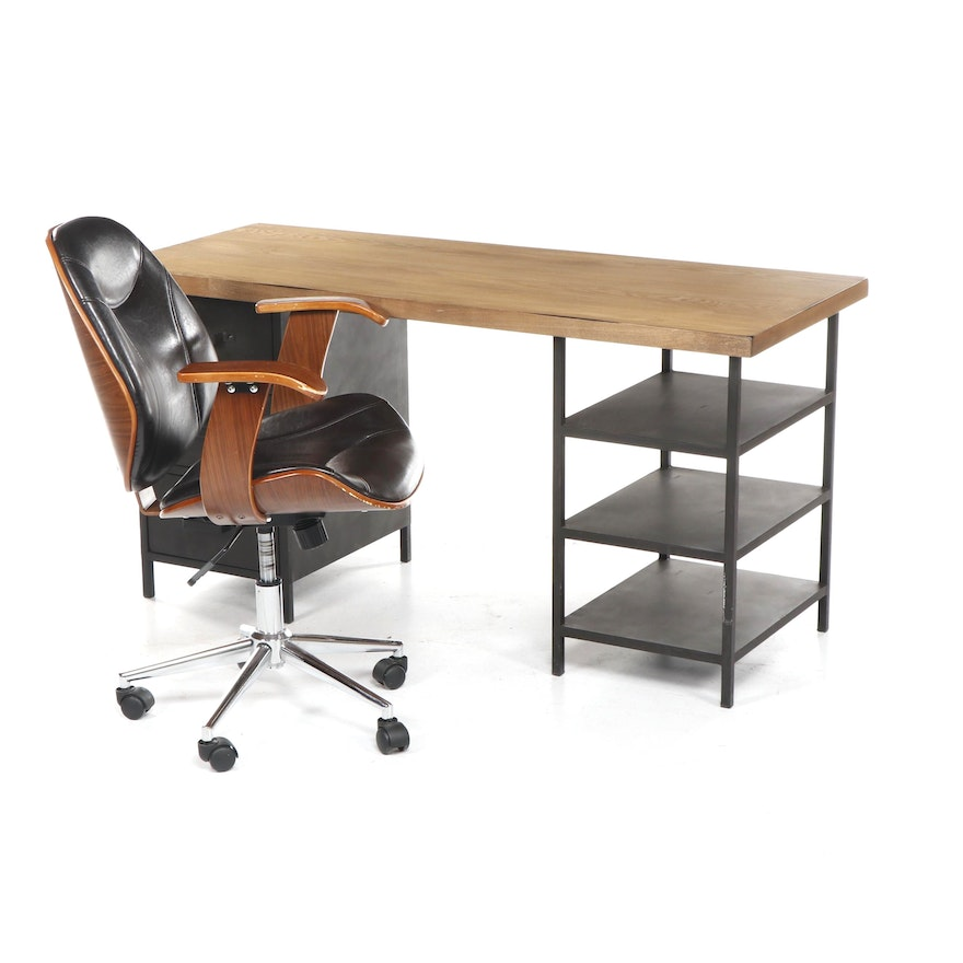 Contemporary Modern World Market Kneehole Desk And