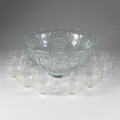 """Punch Bowl and Cups in a """"Grapes and Leaf"""" Pattern for 8"""