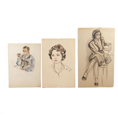20th Century Portrait Watercolor Paintings