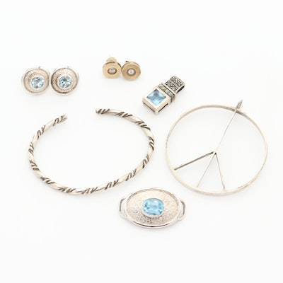 Assorted Sterling Silver Topaz, Marcasite, and Cubic Zirconia Jewelry