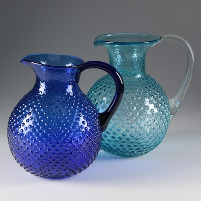 Contemporary Turquoise and Cobalt Blue Hobnail Glass Pitchers