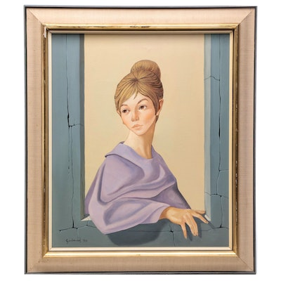 Garland 1964 Portrait Oil Painting of Woman in Window