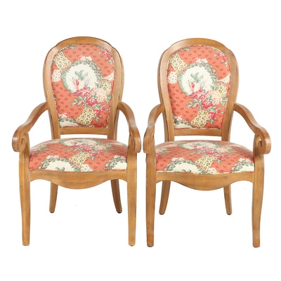Pair of Drexel-Heritage Upholstered Host and Hostess Armchairs