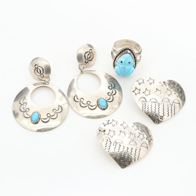 Assortment of Sterling Silver and Turquoise Jewelry Featuring Grady Alexander