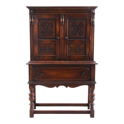 Jacobean Revival Oak Cabinet on Stand, Mid-20th Century